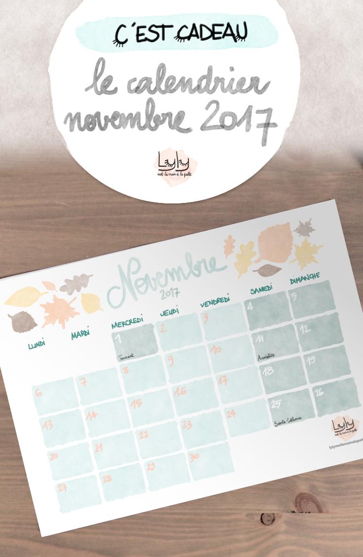 cadeau organisation : calendrier mensuel gratuit novembre 2017. Planifiez tous vos projets de loisirs créatifs