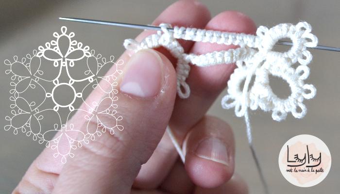 DIY tutoriel frivolité à l'aiguille : patron et explications pour réaliser un flocon de noël pour décorer le sapin !